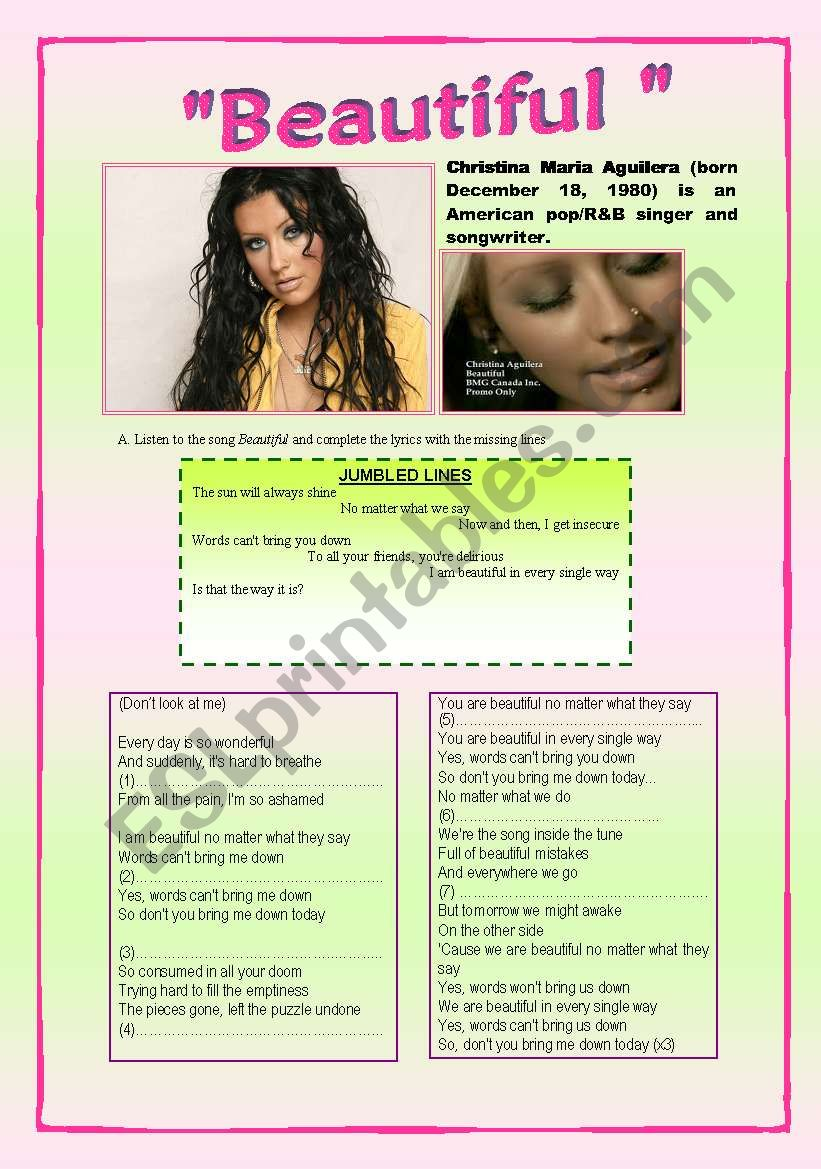 A 2-page-activity + KEY on topic Anorexia, Discrimination, Body Image - Students should watch the video Beautiful by Christina Aguilera.