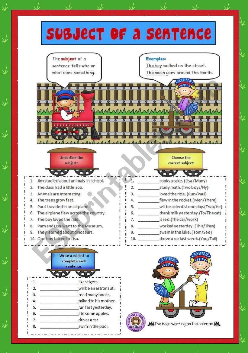 Subject of a Sentence worksheet