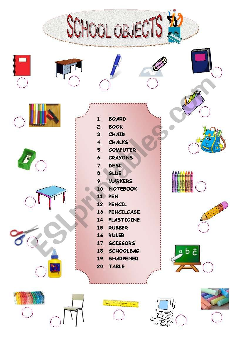 SCHOOL OBJECTS MATCHING worksheet