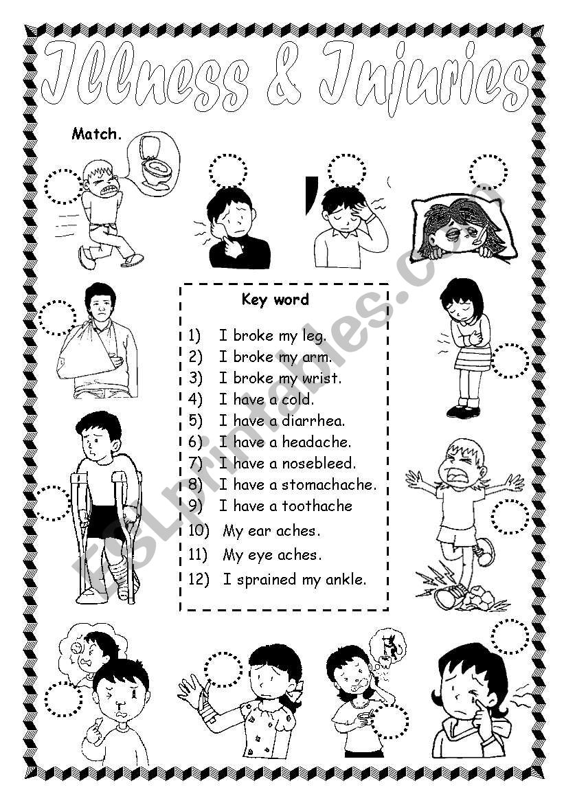 Illness & injuries worksheet