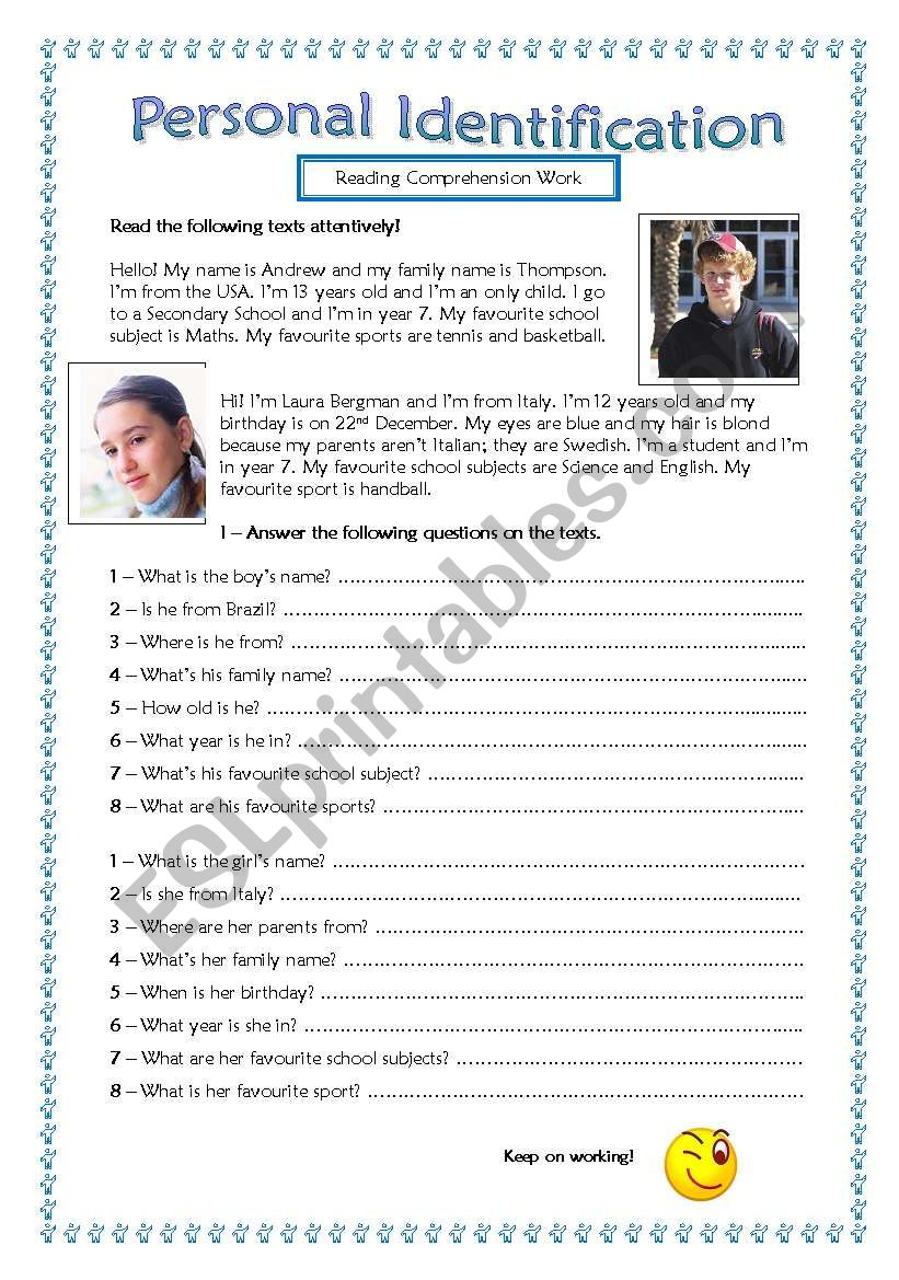 - 5th/6th Graders Reading Comprehension Practice-Personal