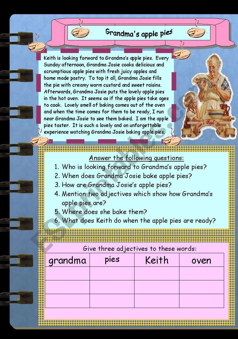 Grandma´s apple pies worksheet