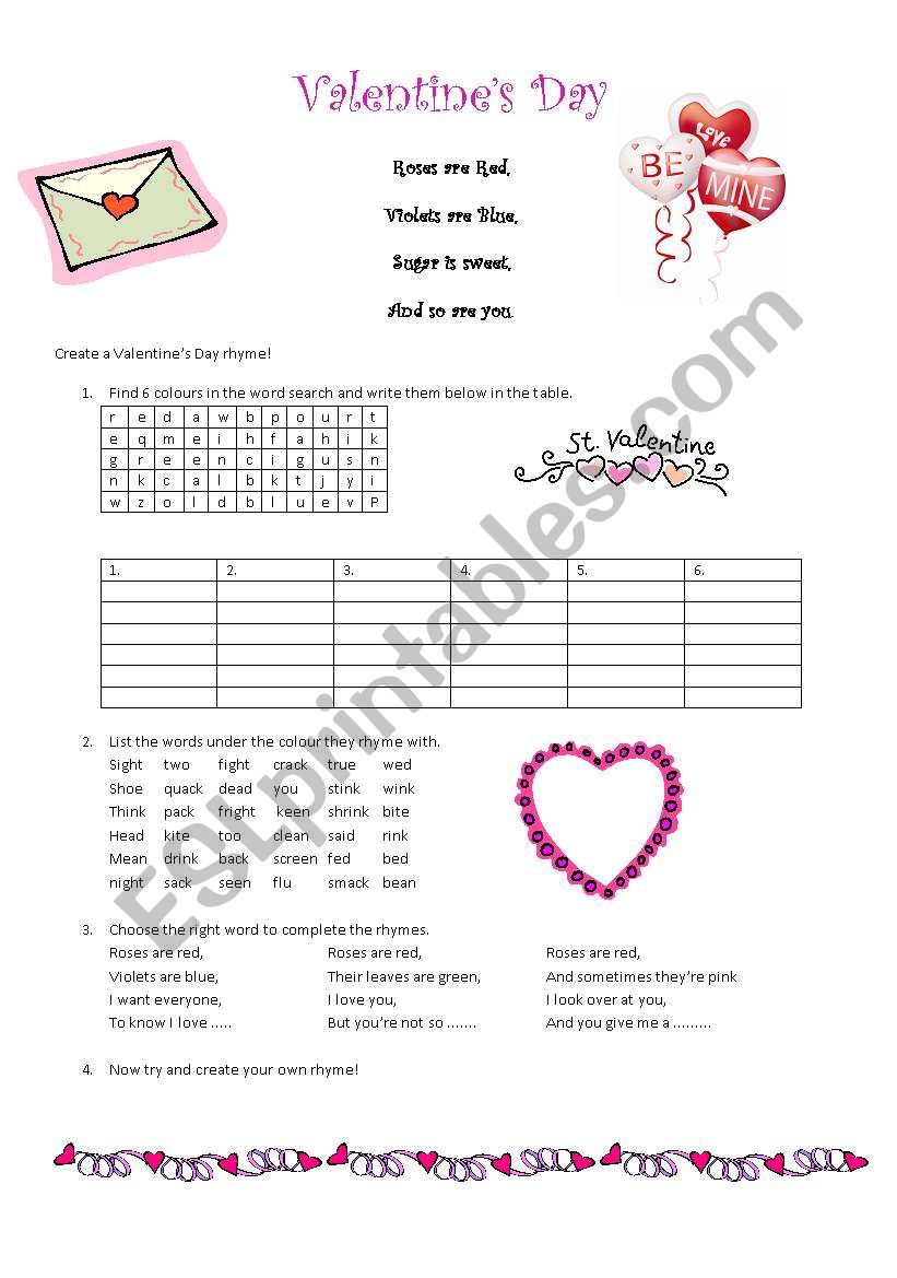 Valentine´s Day Roses are Red Rhymes - ESL worksheet by paalm30