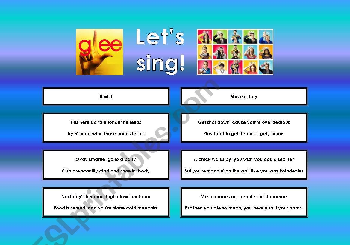 GLEE SERIES – SONGS FOR CLASS! S01E08 – FULLY EDITABLE WITH KEY!