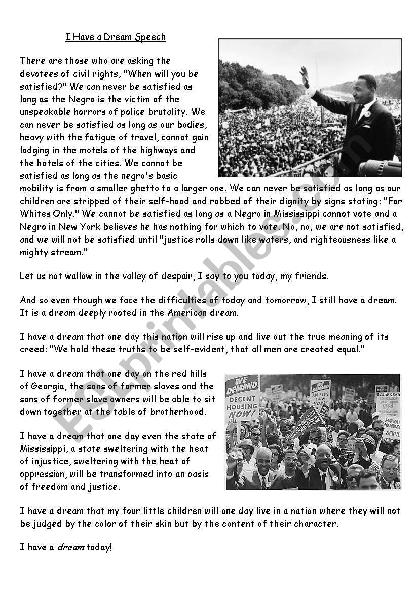 Martin Luther King I Have A Dream Extract Esl Worksheet By Shirelle1