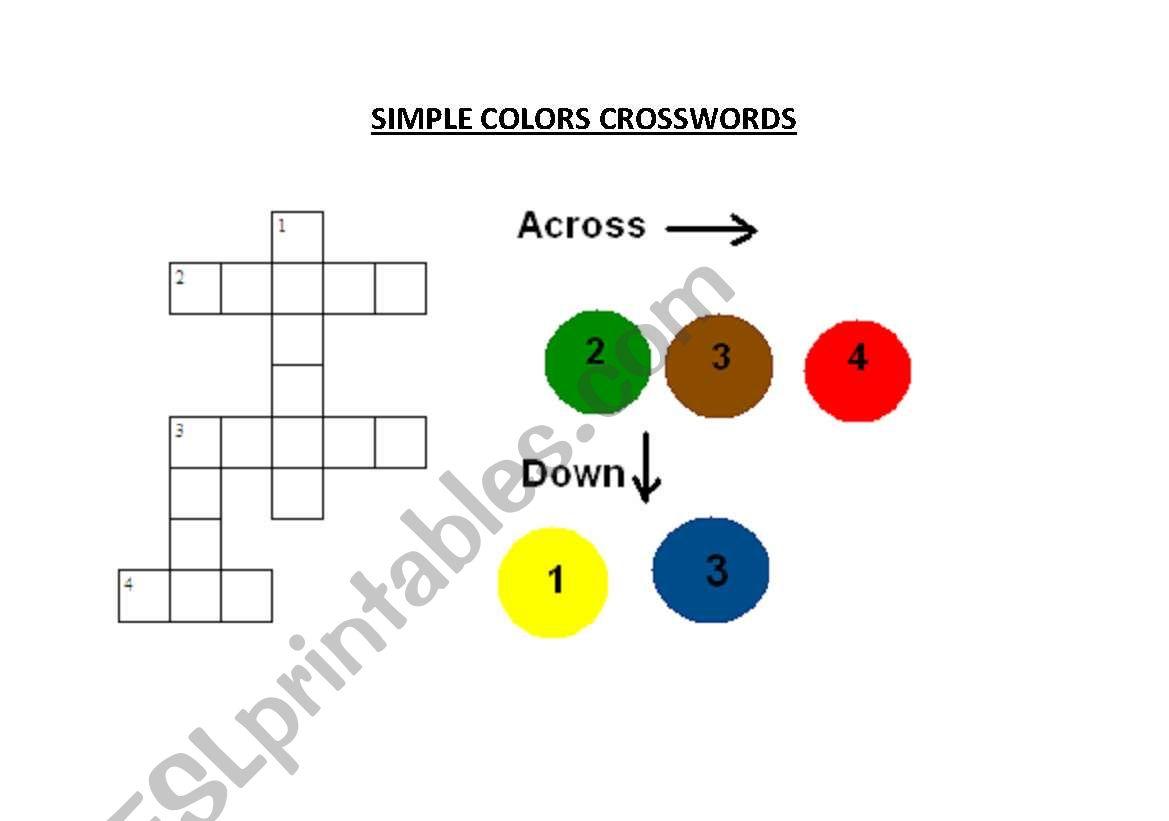Color crossword very simple worksheet