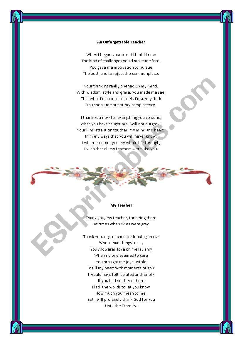 poems for teacher worksheet