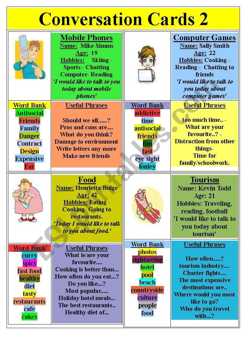 Conversation Cards (set 2) worksheet