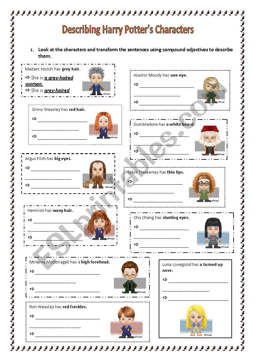 Compound adjectives with Harry Potter´s characters