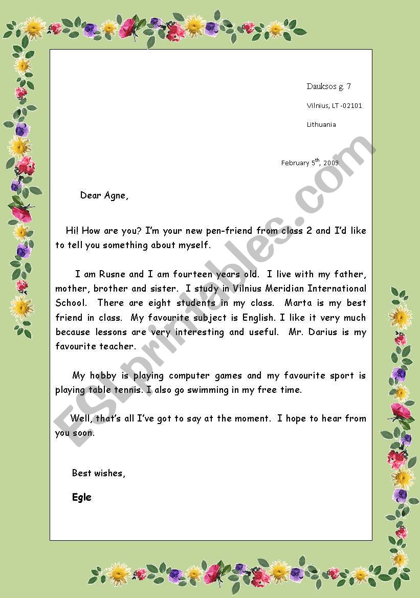 English letter writing for school students