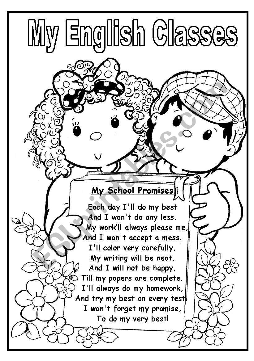 BACK TO SCHOOL POEM: MY SCHOOL PROMISSES (2 pages)