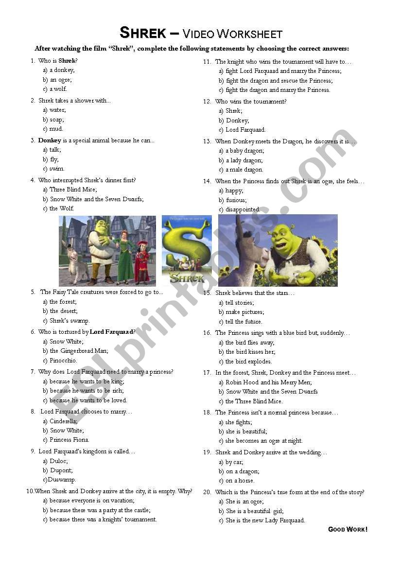 Shrek - video worksheet worksheet