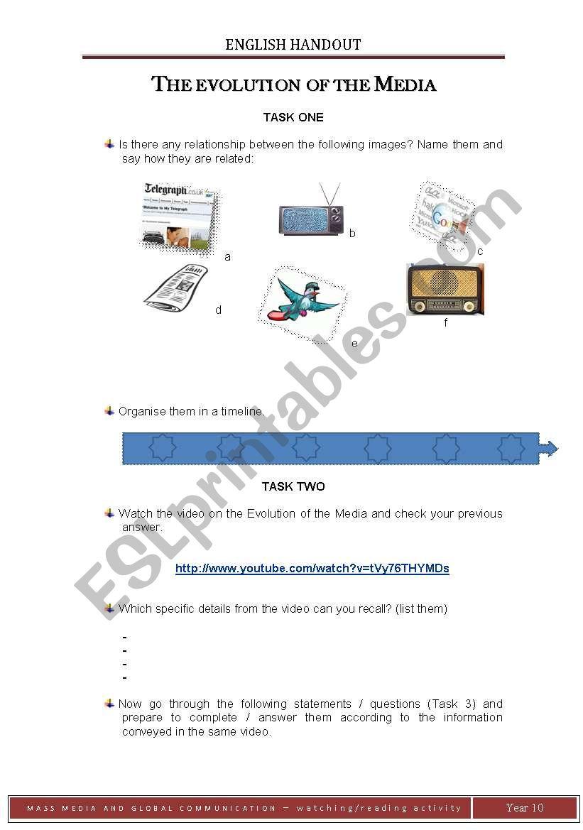 The Evolution of the Media worksheet