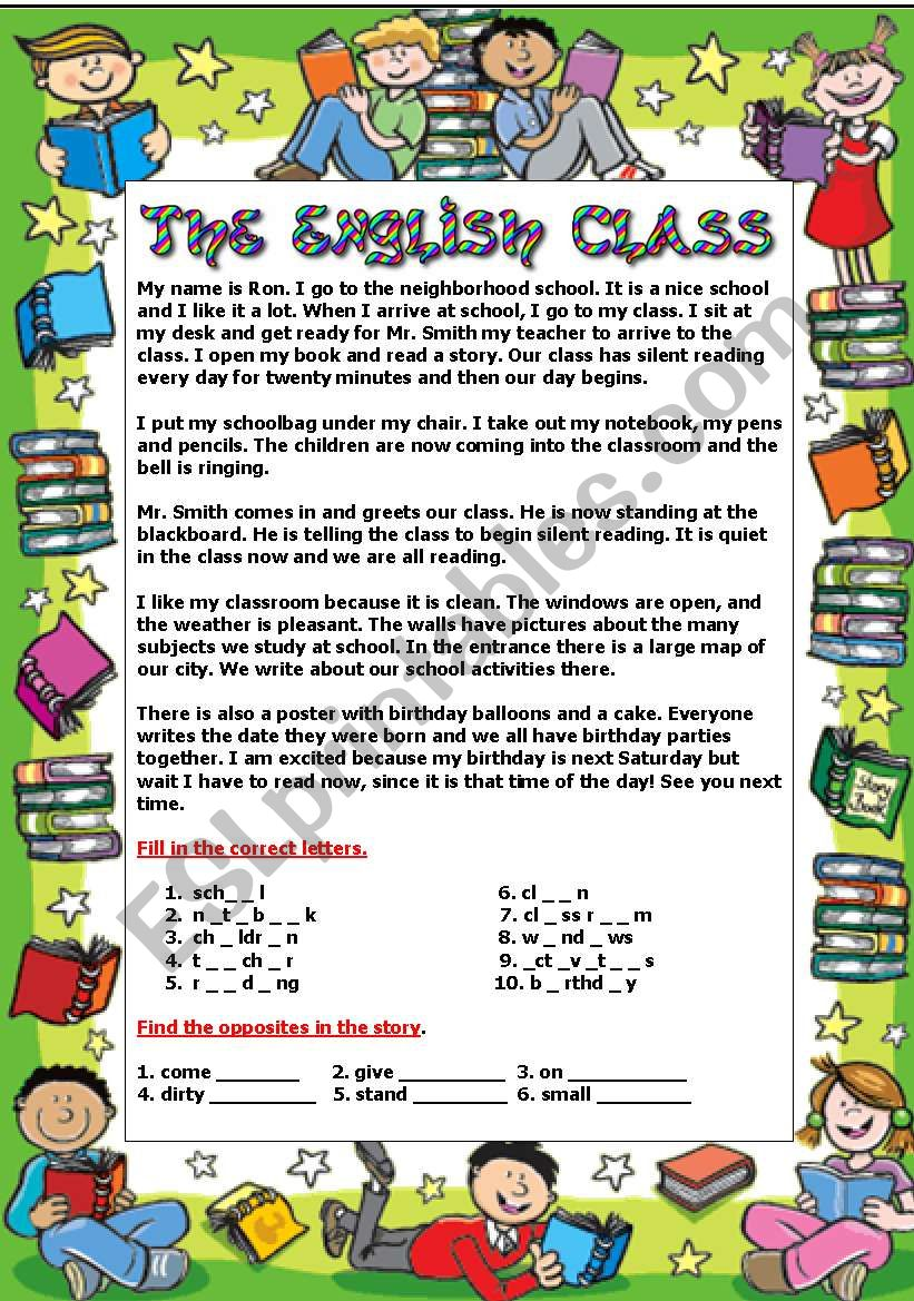 My English Class - ESL worksheet by moma