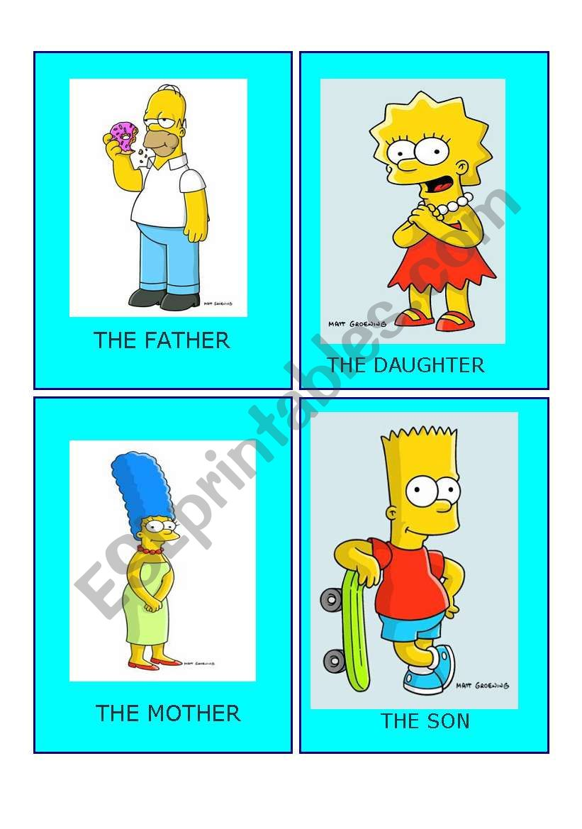simpson family flashcards (set 1)