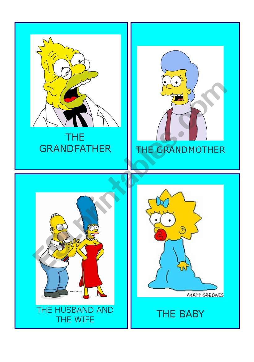 Simpson family flashcards  2 worksheet