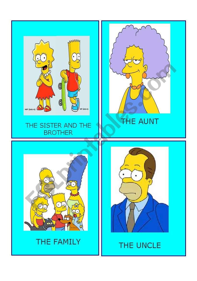 Simpson family flashcards 3 worksheet