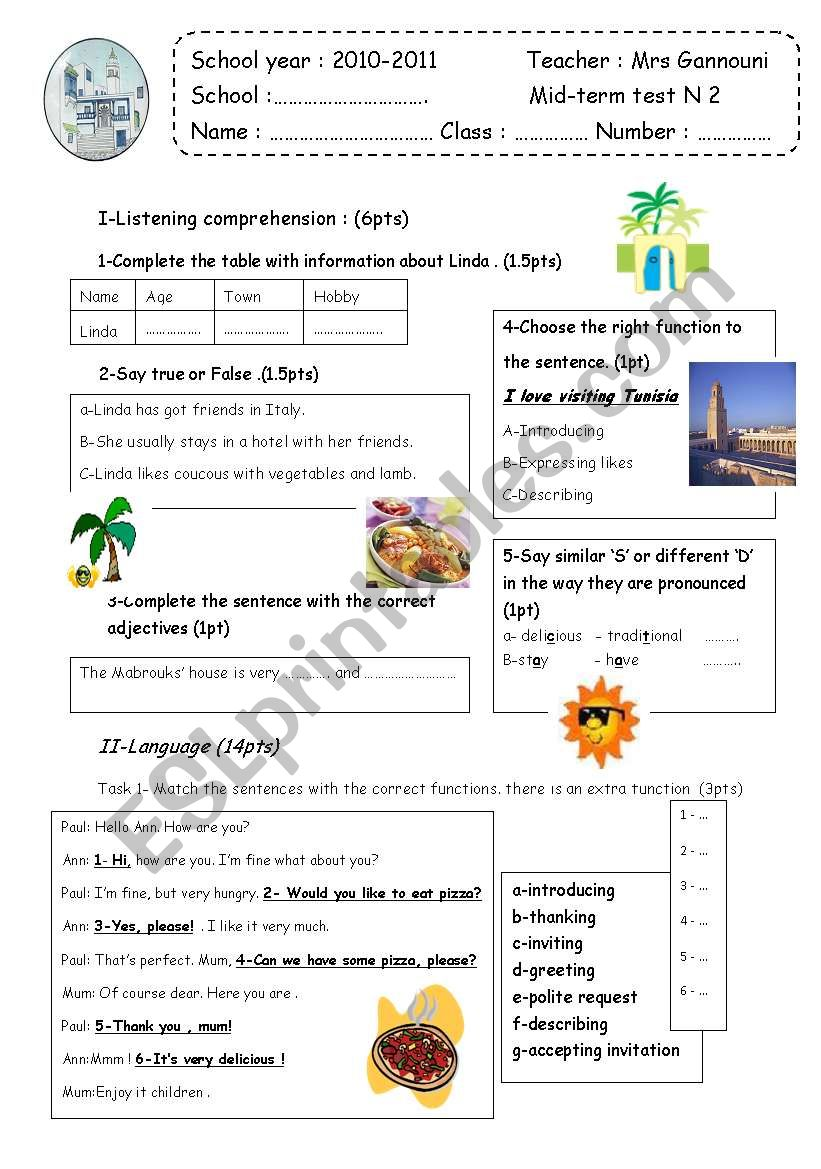 Mid-term 2   7th form  test worksheet