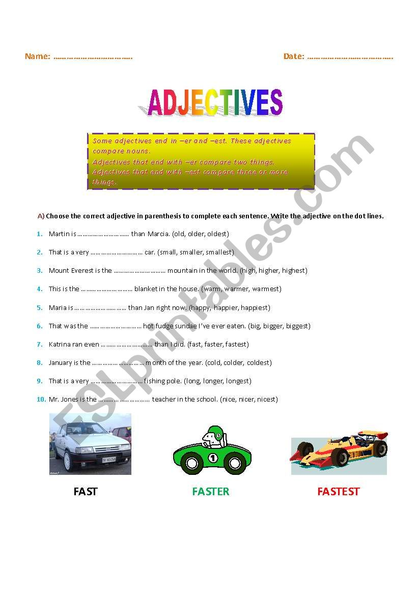 English worksheets: Adjectives ending in -er and -est
