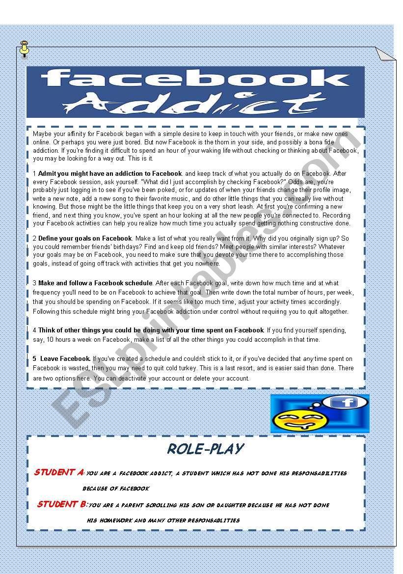 FACEBOOK ADDICT worksheet