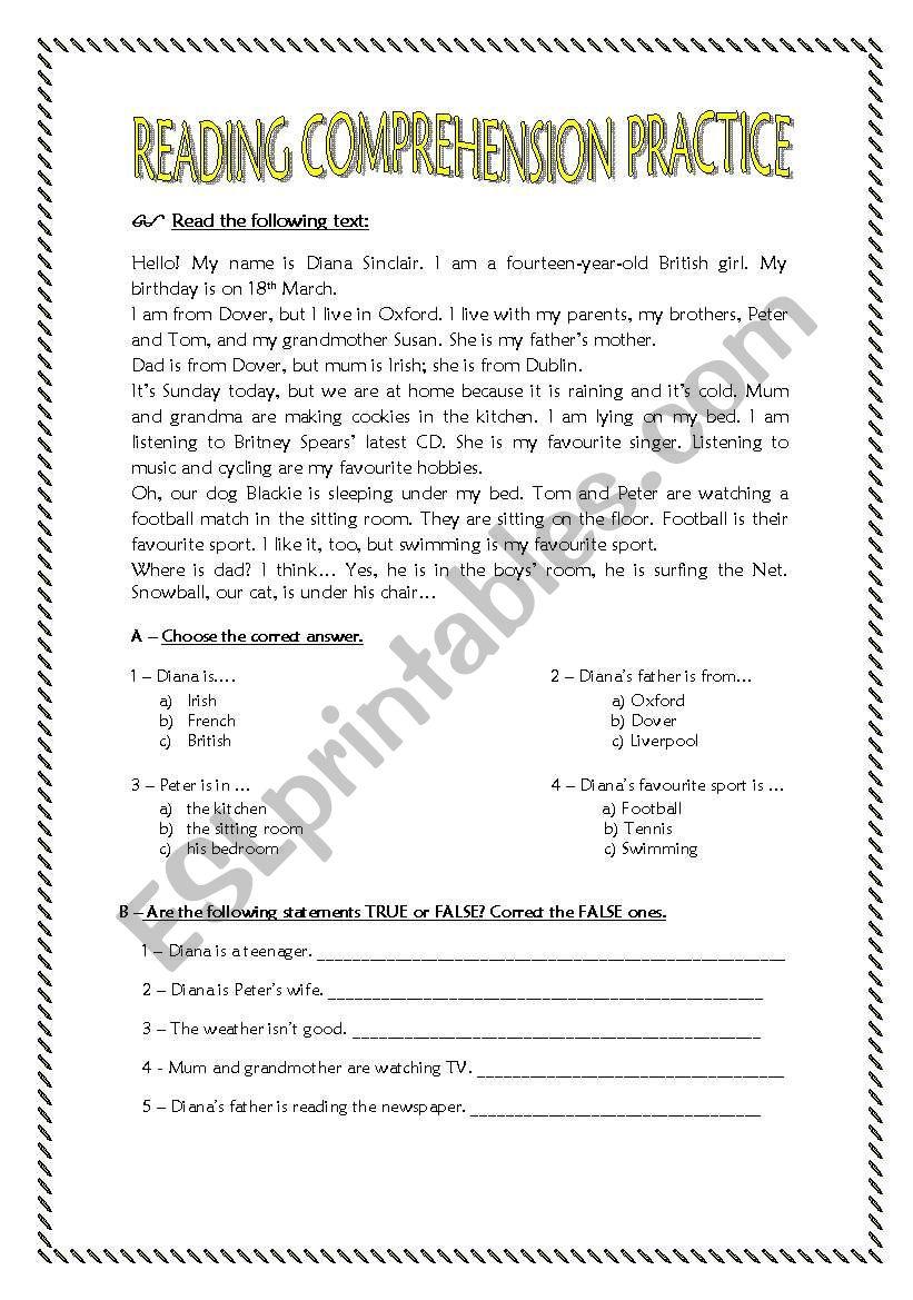 - Reading Comprehension Practice For 7th Graders. - ESL Worksheet By