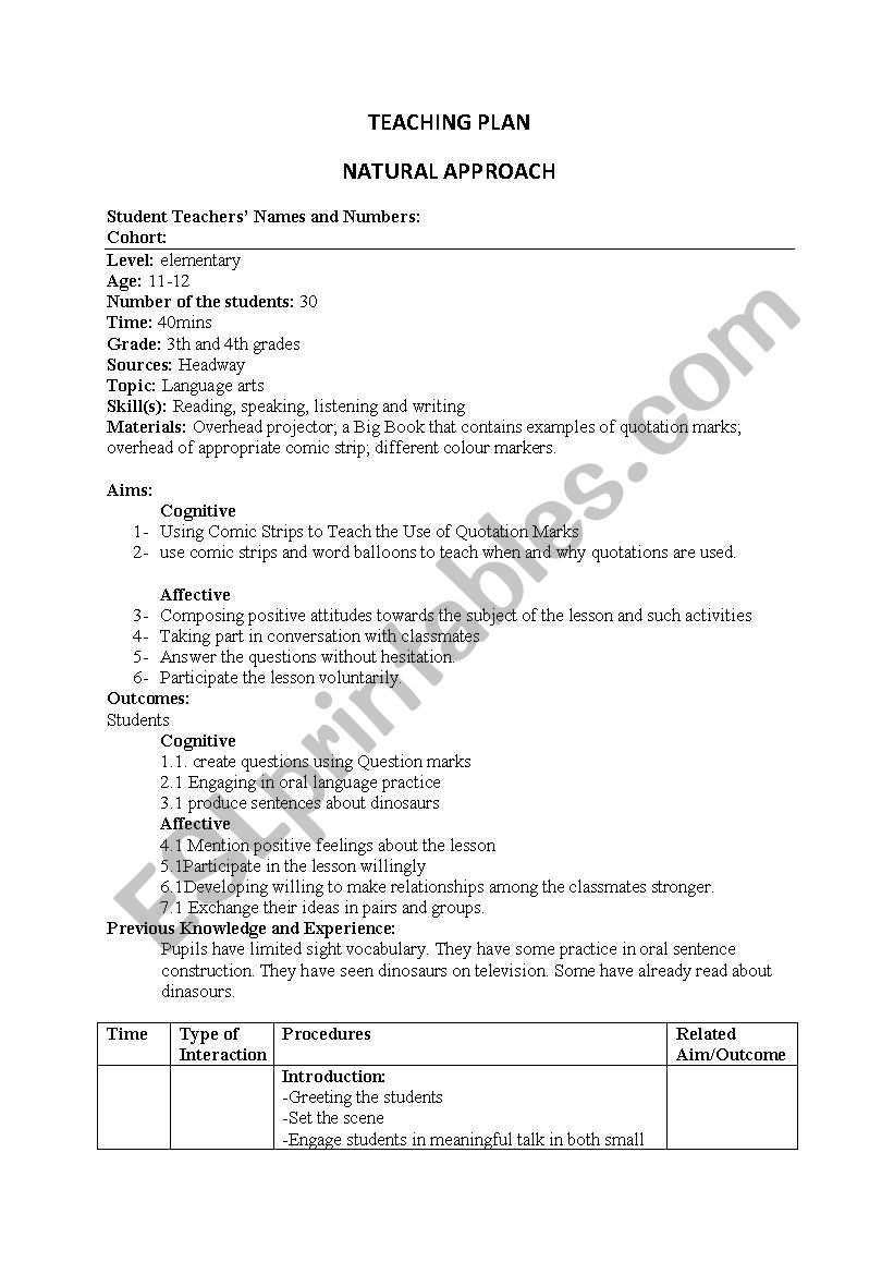 lesson plan(natural approach) worksheet