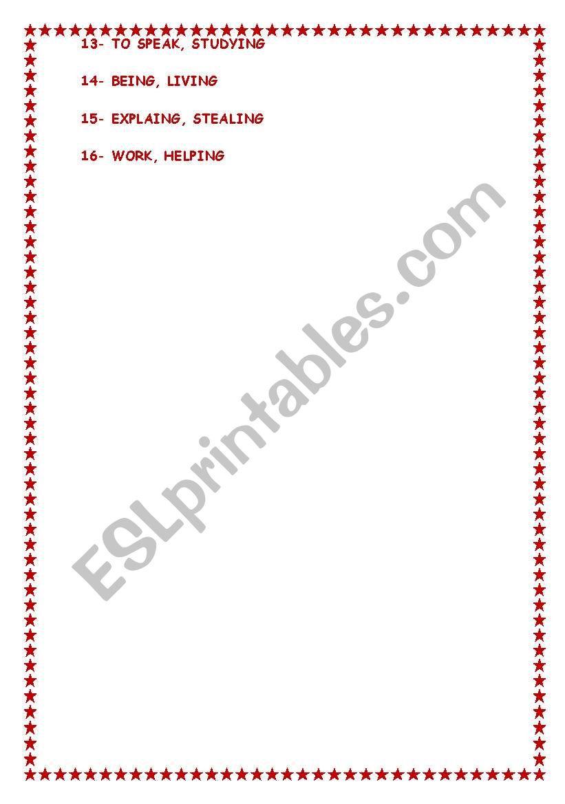 Infinitive Or Gerund Exercises And Key Yolanda Esl Worksheet By