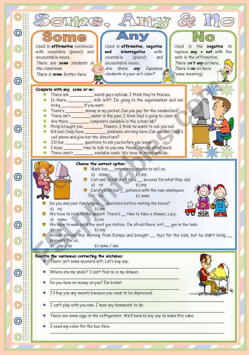 Some, Any & No – rules, examples and exercises • editable • keys included • 2 pages