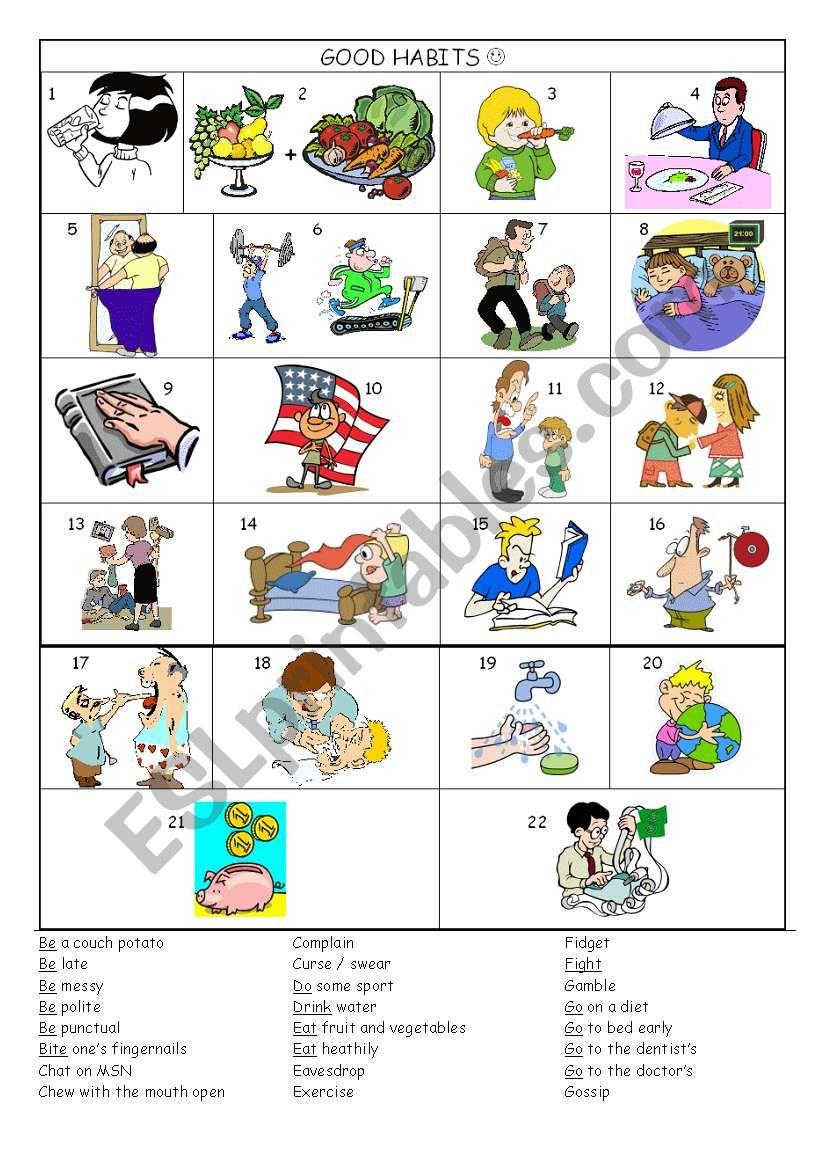 Good habits - bad habits vocabulary worksheet - ESL