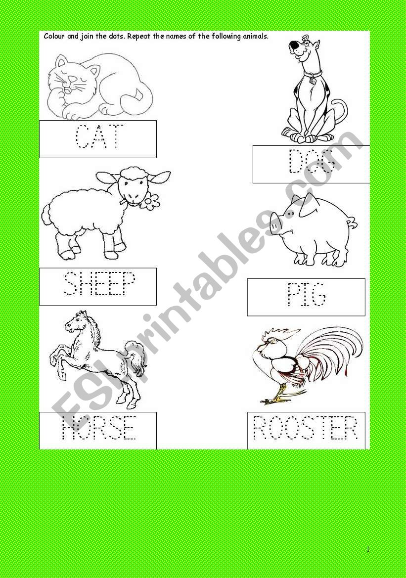 Animals Activity Card Join The Dots Colour Cat Dog Sheep Pig