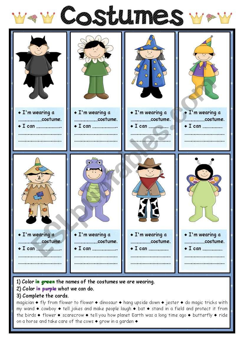 Costumes (1/2) worksheet