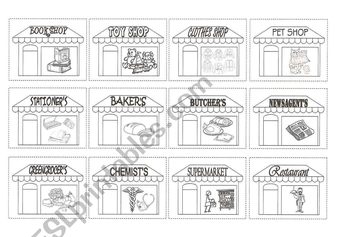 SHOPS B/W PICTIONARY worksheet