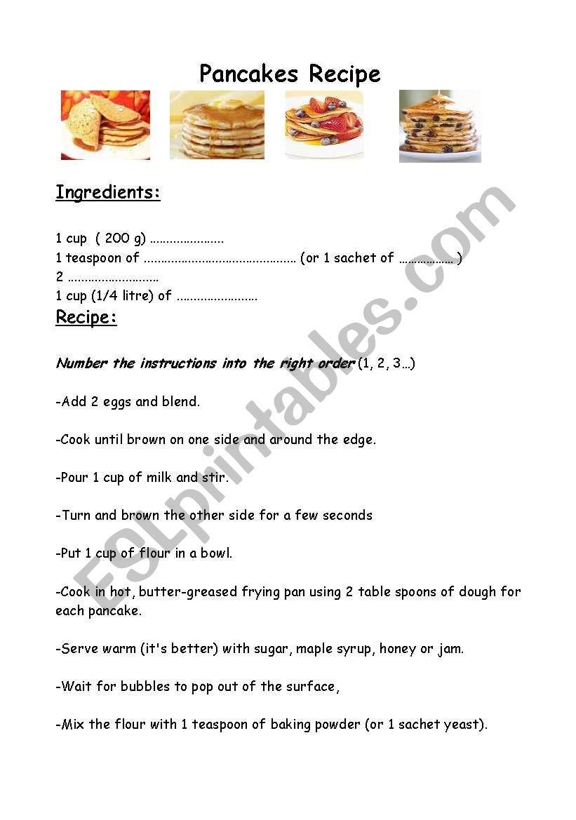 Worksheet Parts Of A Recipe : Worksheet pancakes recipe esl by mothermarie