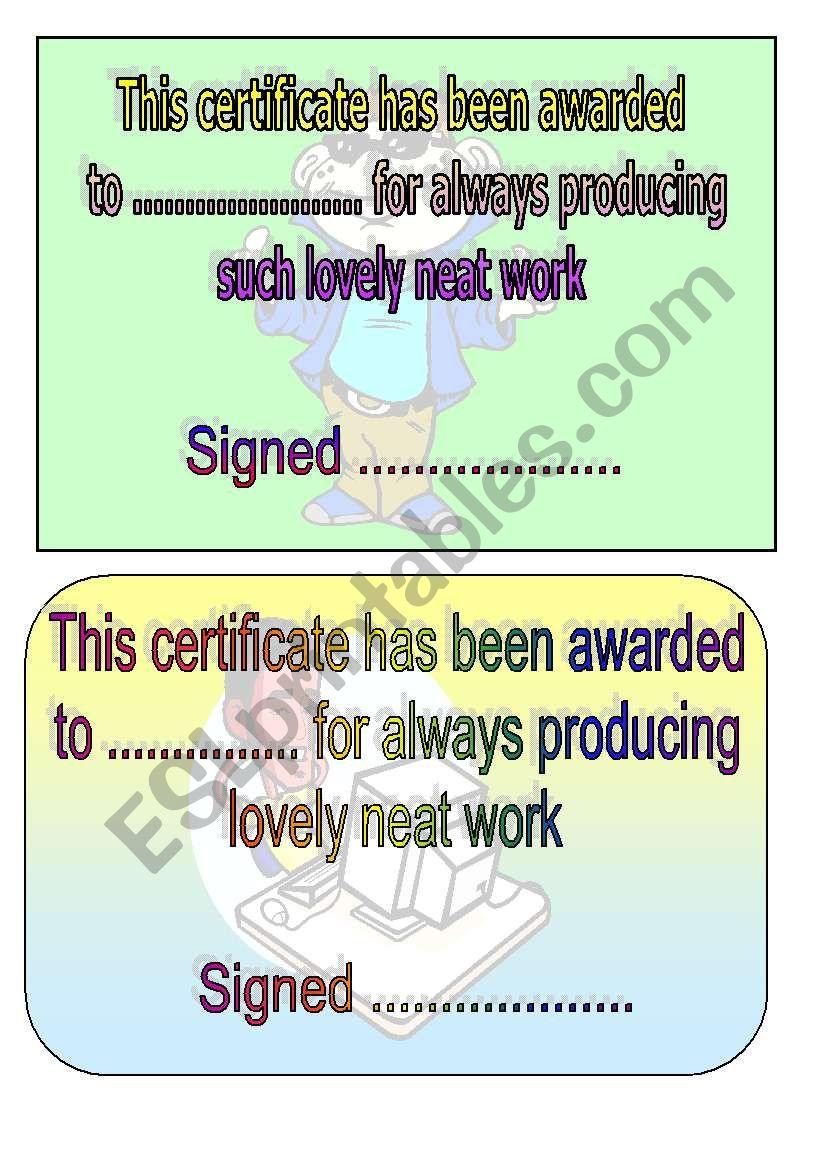neat work award worksheet