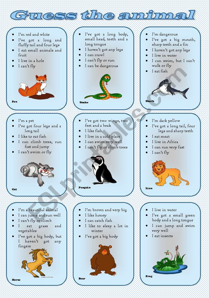Speaking cards - Describe and guess the animal (two tasks, three pages) *** fully editable***