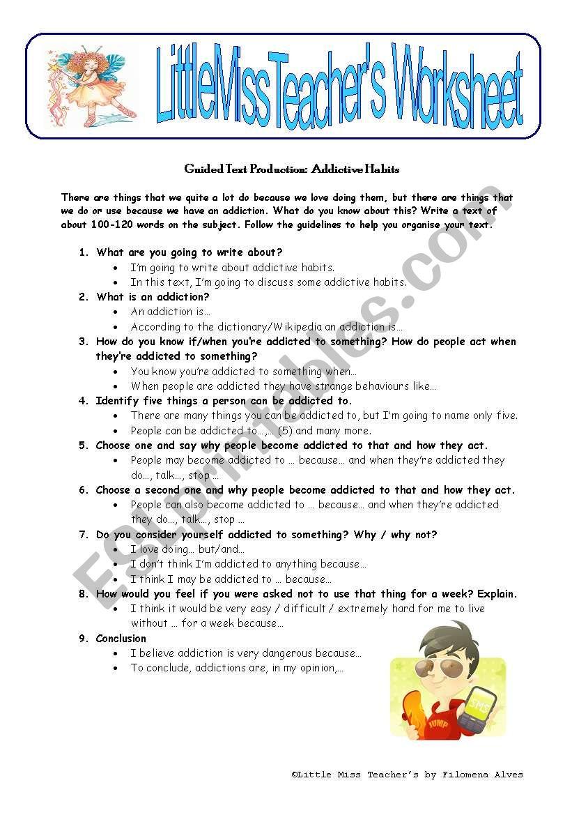 Addictive Habits worksheet