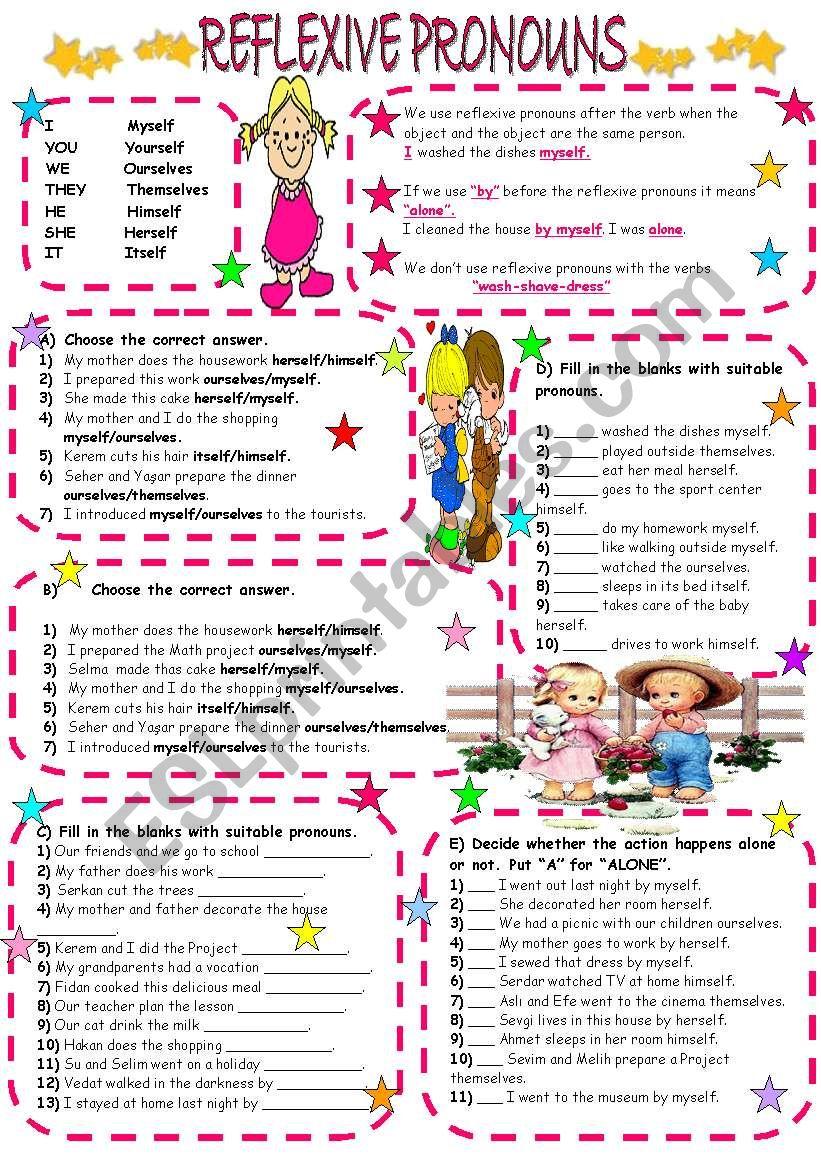 Reflexive Pronouns Esl Worksheet By Lady Gargara