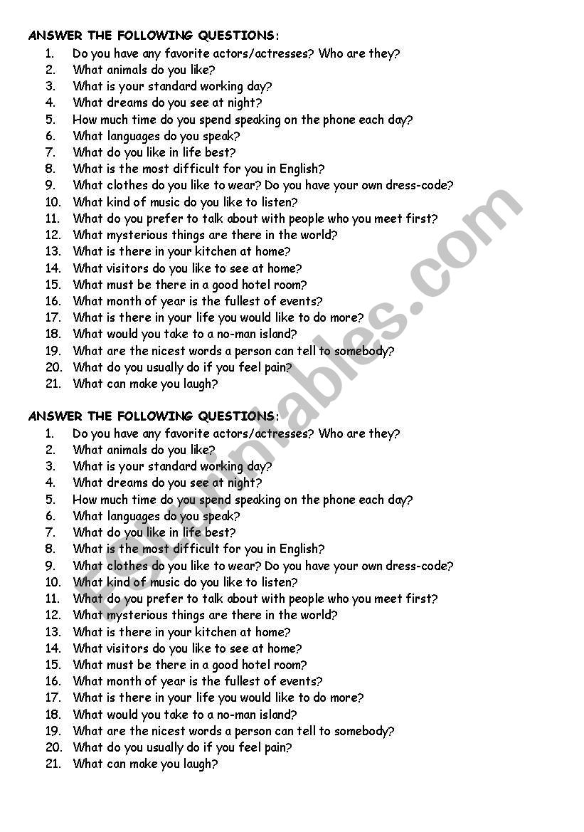 Questions worksheet