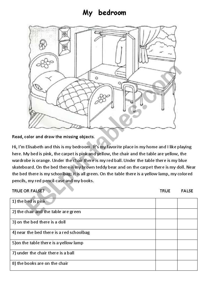 my bedroom worksheet