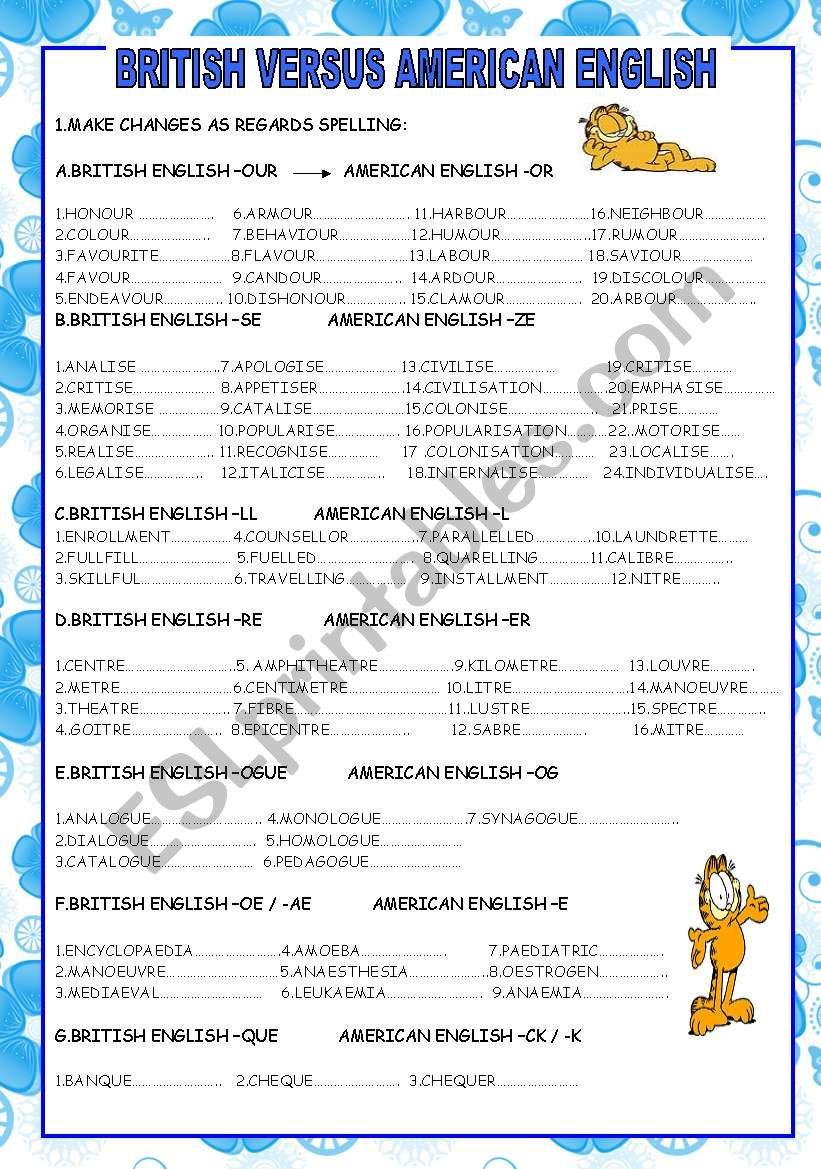 BRITISH VS AMERICAN ENGLISH :SPELLING DIFFERENCES (3 PAGES)