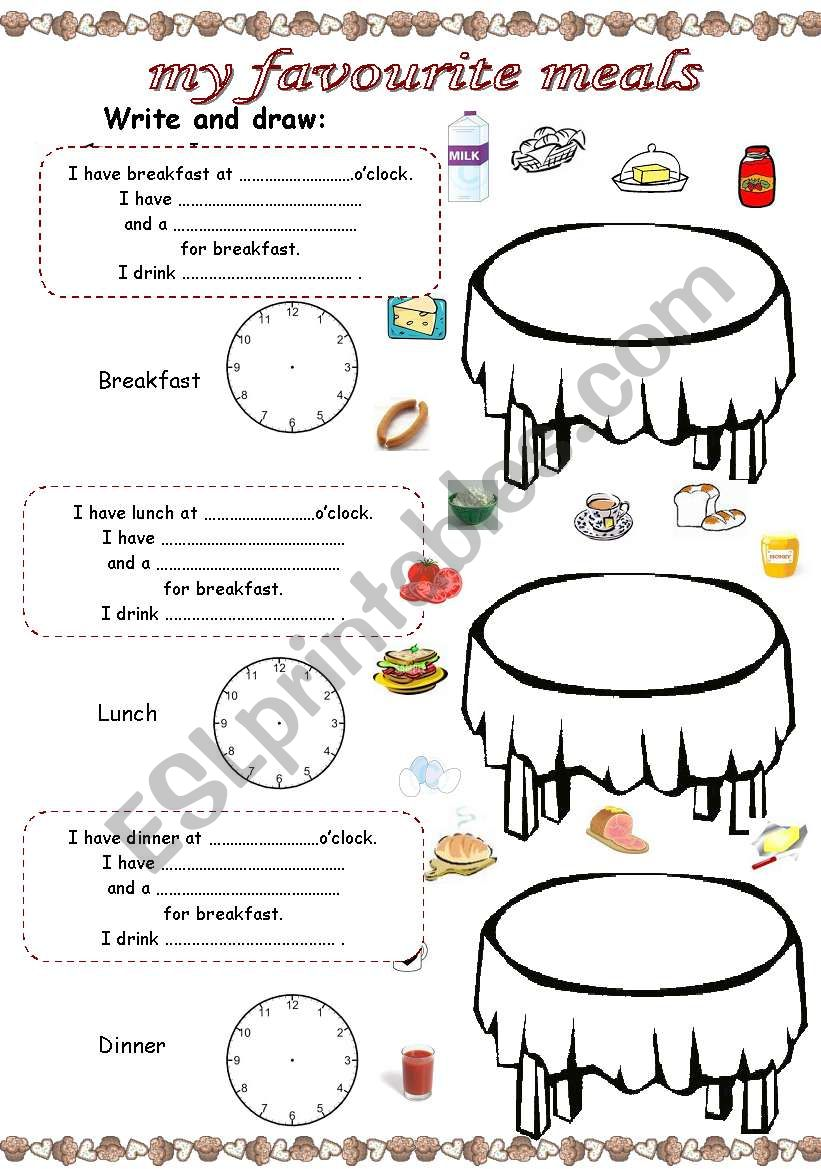 My favourite meals worksheet
