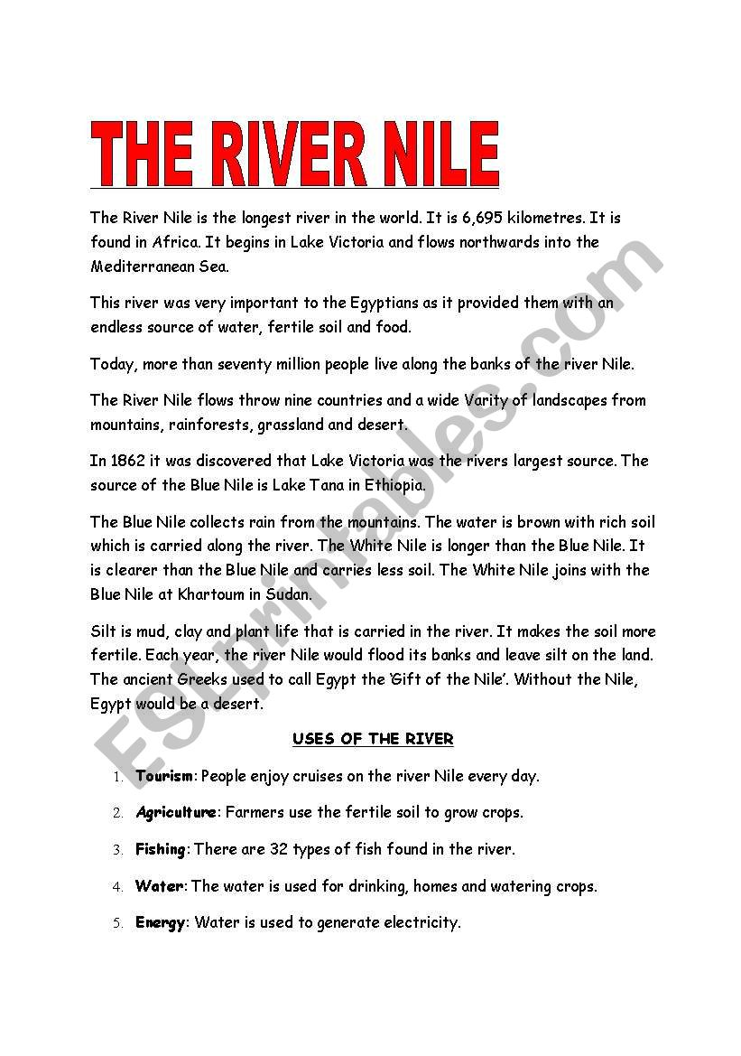The River Nile worksheet