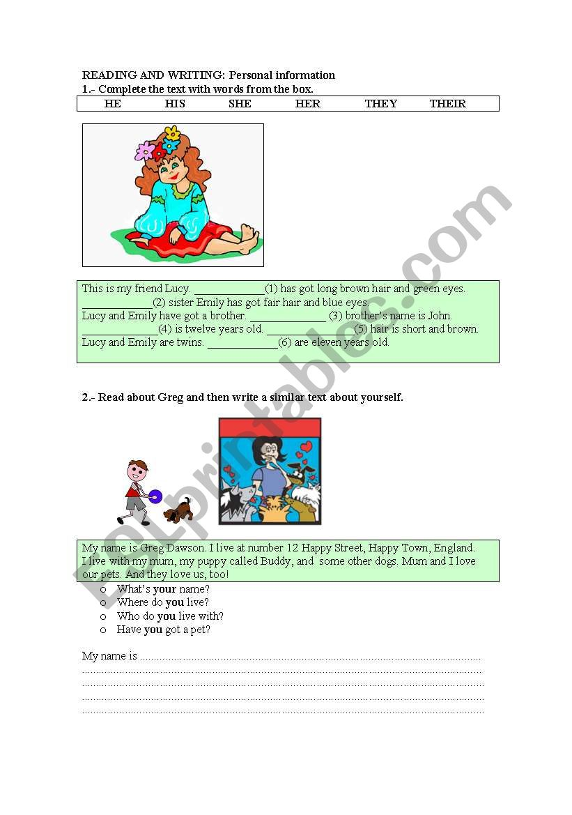 Reading and writing personal information esl worksheet by maryludip reading and writing personal information ibookread ePUb