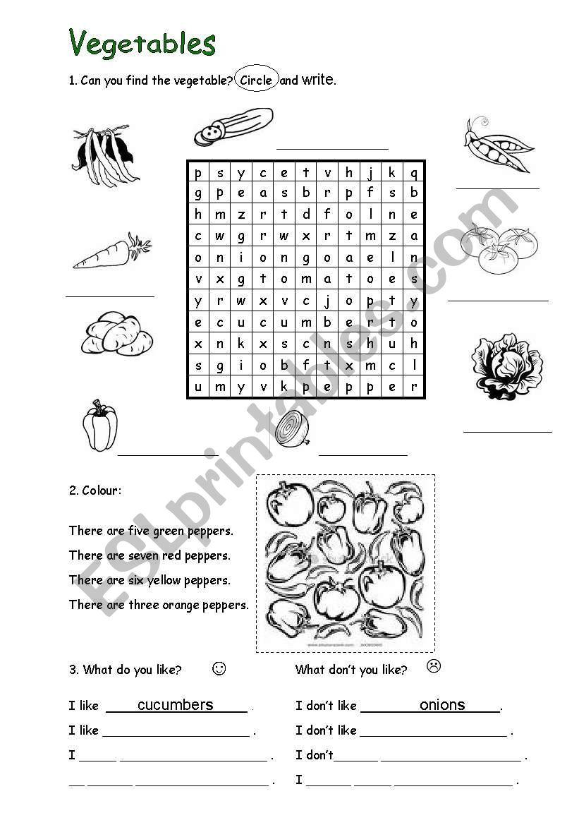 Vegetables worksheet