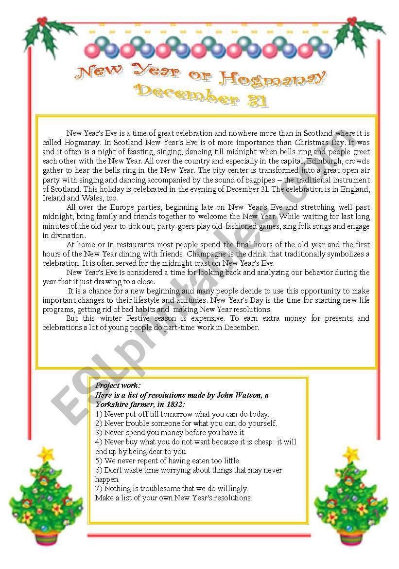 NEW YEAR´S EVE, or HOGMANAY  worksheet