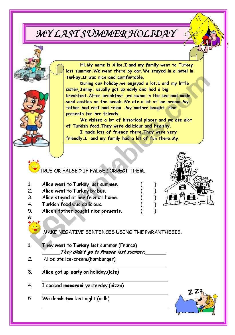 Simple Past Tense Reading  worksheet