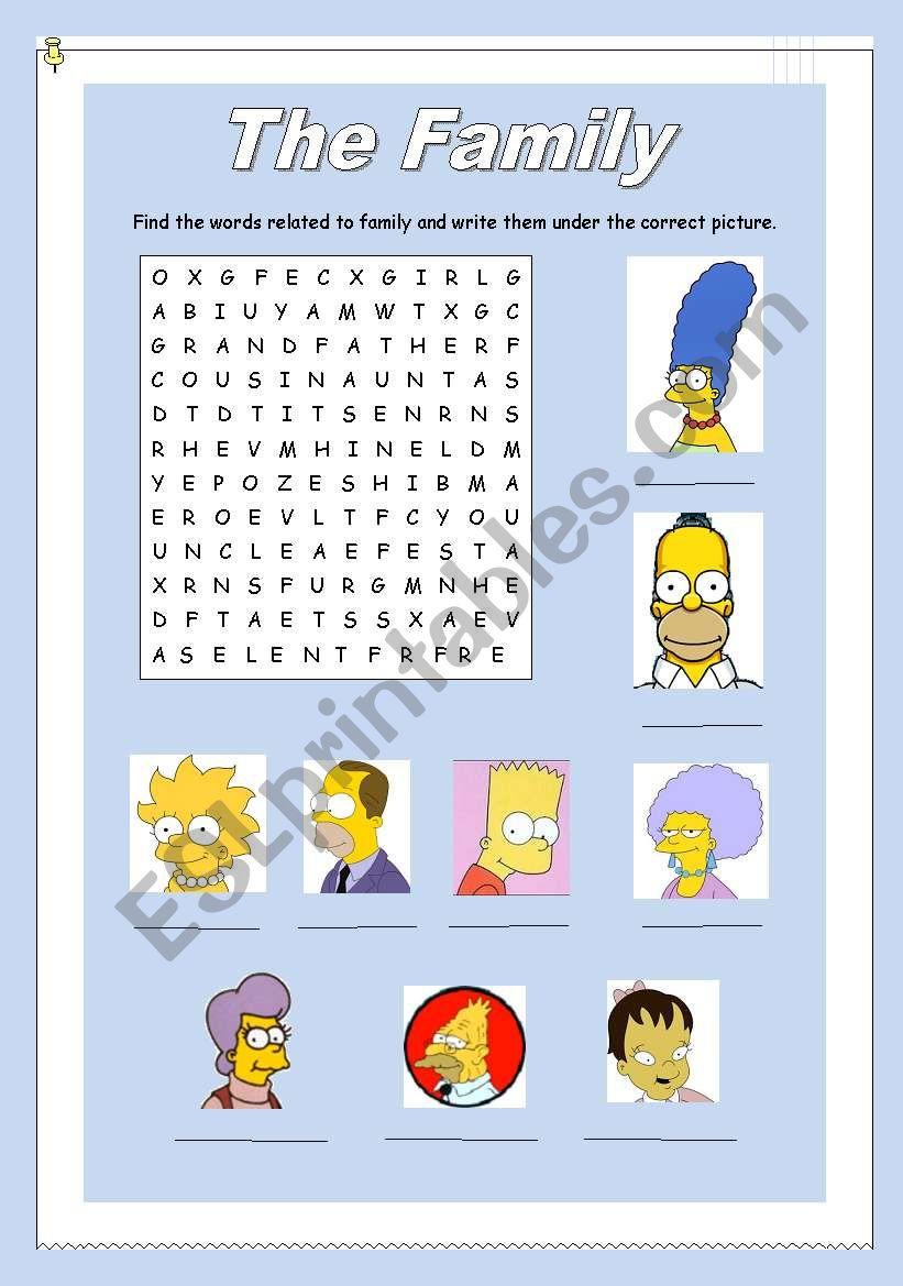 Wordsearch Family worksheet