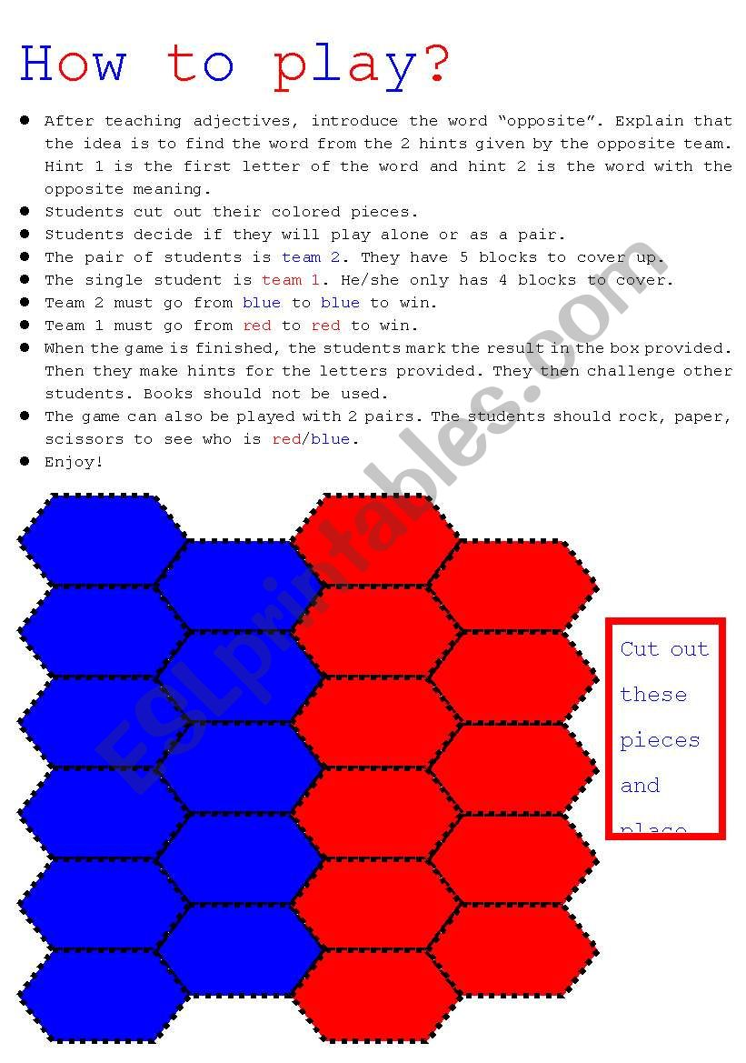 Blockbusters: How to  play? worksheet