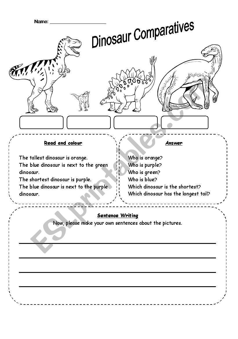 dinosaur comparatives esl worksheet by seong83. Black Bedroom Furniture Sets. Home Design Ideas