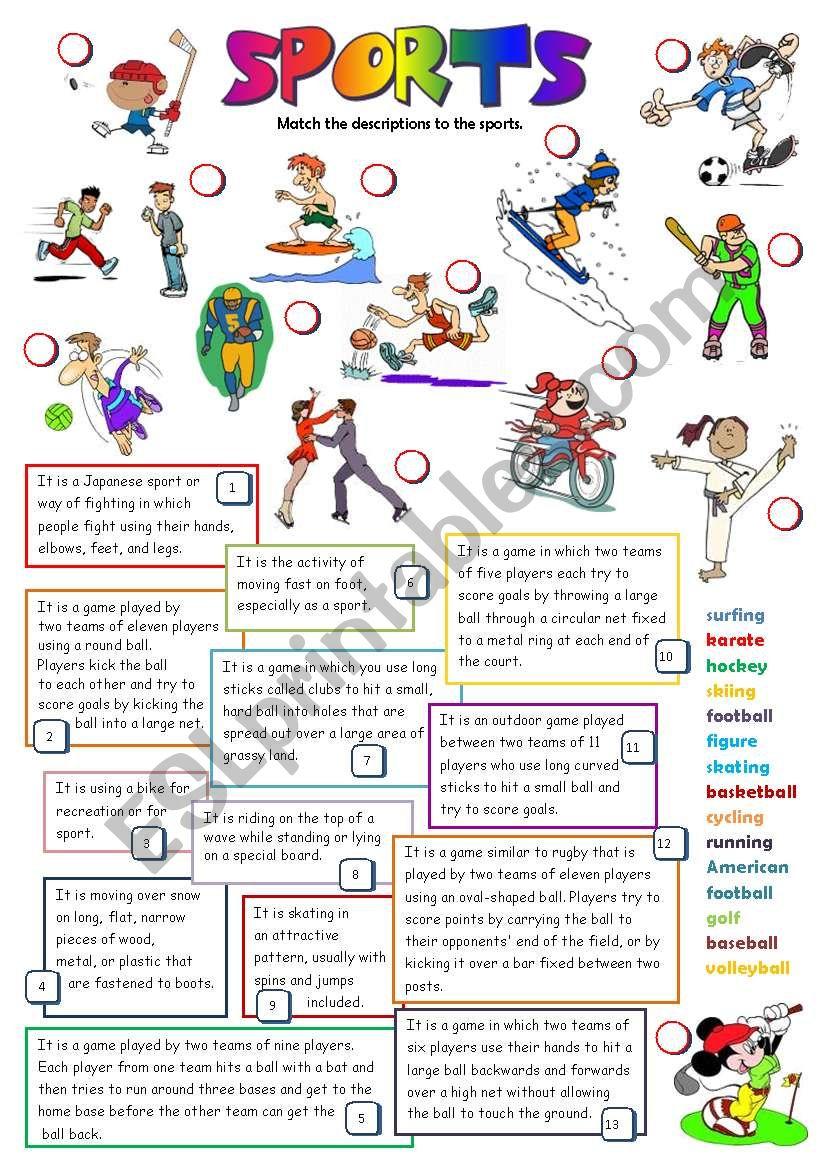 SPORTS (B&W + KEY) worksheet